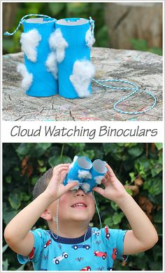 Cloud-Themed Toilet Paper Roll Binoculars Craft for Kids- Perfect for a weather unit! Daycare Crafts, Toddler Crafts, Toddler Activities, Literacy Activities, Preschool Weather, Preschool Crafts, Crafts For Preschoolers, Kids Crafts, At Home Crafts For Kids
