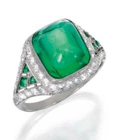 Platinum, Emerald and Diamond Ring, Tiffany & Co. circa 1925