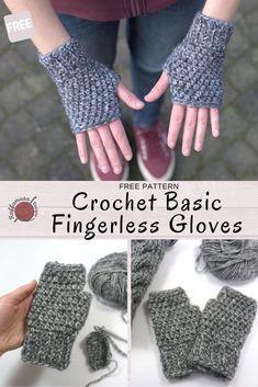 Crochet Fingerless Gloves Free Pattern, Crochet Mitts, Fingerless Mitts, Mittens Pattern, Easy Crochet, Free Crochet, Cotton Crochet, Crochet Bags, Crochet Clothes