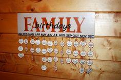 Family Birthdays Calendar, Family Birthday Board, Customized, Personalized, Family Birthday Board