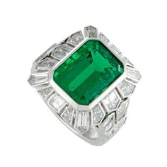 Tapered Diamond Baguette and Emerald Platinum Ring 1
