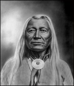 "Washakie, Chief of the Shoshone Native American tribe his name means, ""rawhide rattle"". Photo taken around 1900."