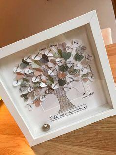 """Bild """"Lebensbaum"""" UNIKAT Alle persönlichen Wünsche werden in das Bild mit eingearbeitet. Unten im Rahmen sitzt ein Edelstein mit einem Herzen , es sind auch andere Motive (Engel ) möglich incl...."""