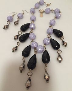 Art Deco Style FRINGED Necklace LAVENDER & by thepopularjewelry