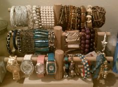 Home-made jewelry display.  Thanks Dad!
