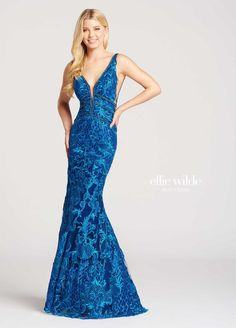 Style EW118033 from Ellie Wilde for Mon Cheri is a formal sleeveless deep V-neck Embroidered Lace and Shimmer Tulle long trumpet gown with mesh sides and V back.