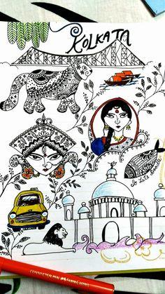 famous for victoria memorial. Fish Drawings, Doodle Drawings, Doodle Art, Animal Drawings, Mandala Design, Mandala Art, Happy Birthday 19, Durga Puja Kolkata, Bengali Art