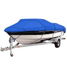 ヘビーデューティ14-16ftビーム90インチtrailerable 210dマリングレードボートステンレスカバー防水uv保護された青