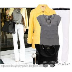 The yellow and gray makes a great statement outfit!   by stacy-gustin on Polyvore