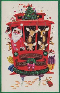 """""""Vintage Christmas Card - Cable Car - Candy Cane and Noel Street"""" ~ Photo by hmdavid Vintage Christmas Images, Retro Christmas, Vintage Holiday, Christmas Pictures, Christmas Art, Christmas Holidays, Primitive Christmas, Country Christmas, Happy Holidays"""