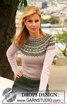 """Winter Moss - Knitted DROPS jumper in """"Alpaca"""" with short raglan sleeves and Norwegian pattern. Size S to XXXL. - Free pattern by DROPS Design Fair Isle Knitting Patterns, Jumper Patterns, Fair Isle Pattern, Knit Patterns, Drops Design, Tejido Fair Isle, Fair Isles, Free Knitting, Free Pattern"""