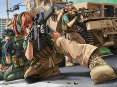 Safebooru is a anime and manga picture search engine, images are being updated hourly. Anime Military, Military Girl, Anime Warrior, Warrior Girl, Fantasy Comics, Anime Fantasy, Desenho New School, Guerra Anime, Anime Weapons