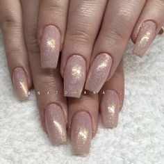Chrome sparkle nude coffin acrylic nails