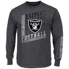 2db983730 Oakland Raiders Majestic Big   Tall Dual Threat Long Sleeve T-Shirt -  Charcoal Oakland