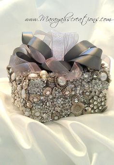 Jeweled Ring Bearer Box-Bezeled and Blinged Collection by Marayah. $148.00, via Etsy.