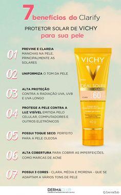 Confira o infográfico e conheça 7 benefícios do protetor solar Idéal Soleil Clarify de Vichy