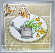 I Brake For Stamps: Tulips in Water Can and Two Butterflies ... handmade birthday card.