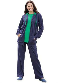 Hoodie and pants set in soft knit with contrast color trim | Plus Size New Arrivals | Woman Within