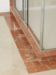 Rosso Levanto Polished Marble Border With Ecru Tiles