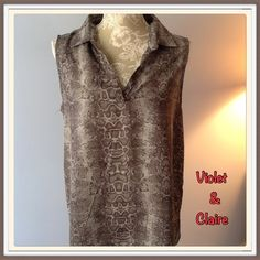 #252   VIOLET & CLAIRE SNAKESKIN PRINT TOP Like new!!  Sleeveless, v-neckline, snakeskin print top.  Grayish brown in color.  Polyester. Violet & Claire Tops