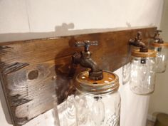 Handmade Faucet / Mason Jar Vanity Light Fixture, Country Primitive, Rustic