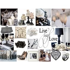 white & black with champagne touches