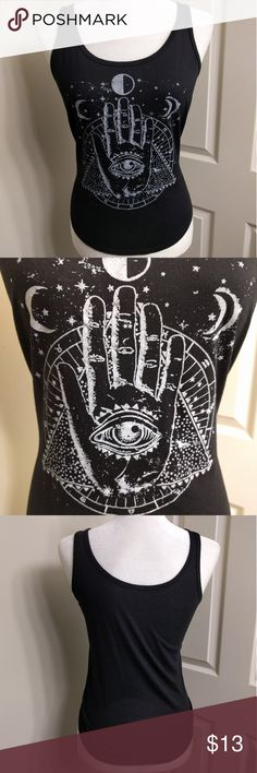 Occult Evil Eye Tank Top Stretchy tank top with occult symbolism graphic on front. By Billabong but you can just tell everyone it's by Killstar and they'll never know  killstar dolls kill blackmilk wildfox hot topic lip service unif gothic occult  Billabong Tops Tank Tops