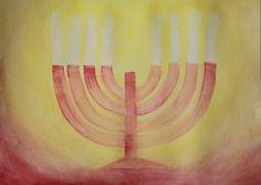 Waldorf ~ 3rd grade ~ OT Stories ~ Menorah ~ watercolor painting