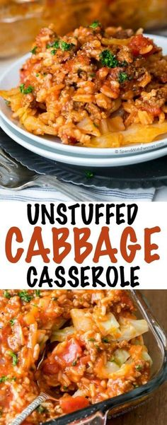 Unstuffed Cabbage Casserole is my comfort food go-to. Layers of cabbage and rice in a rich meaty tomato sauce baked until hot. The perfect easy family dinner!