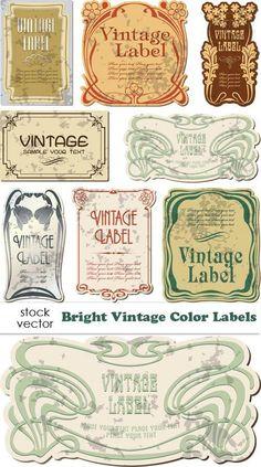 Арт Нуво - векторные винтажные этикетки | Bright Color Vintage Labels