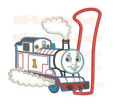 Thomas Train 1st Birthday Embroidrey Applique by NDembroidery