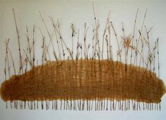 'Standing Reeds' / bamboo offcuts and banana trunk pulp paint on canvas -by Lesa Hepburn