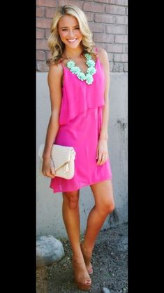 How to wear magenta--love the mint necklace and nude heels.--color combos