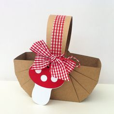 Teddy Bears Picnic Baskets with gingham ribbon - Mushroom gift tag, toadstool. Woodland party favor, gift box.