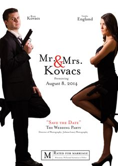 Mr. and Mrs. Smith Save the Date | Engagement session ideas | Bond wedding theme