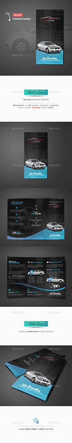 Rent A Car Trifold Brochure Template PSD #design Download: http://graphicriver.net/item/rent-a-car-trifold-brochure/13272951?ref=ksioks