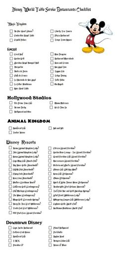 Disney World Restaurant Checklist