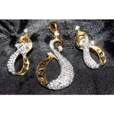 Nakit Exclusive CZ (American Diamond) Rhodium Polished Pendants Set  - Online Shopping for Pendants by Nakit CZ Jewelry