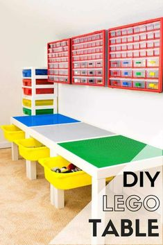 This DIY Lego table is perfect for your little master builder! With built-in drawers and storage on the wall, this is the perfect place to create and play! Tutorial at The Handyman's Daughter!   lego room   lego table idea   lego storage   playroom   kids room   toy storage