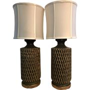 Pair of Matching Mid Century Green Table Lamps -- These Define Quality Mid Century Lighting