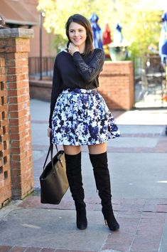 floral skirt and boots via @mystylevita