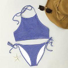 Cupshe Reseau Print Halter Bikini Sets