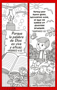 Paper Bookmarks, Bible For Kids, Letter Size Paper, Markers, Bible Verses, Spanish, Coloring, God, Lettering