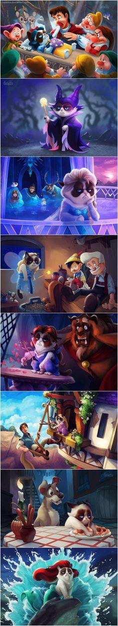 Funny pictures about Grumpy Cat in Disney Movies. Oh, and cool pics about Grumpy Cat in Disney Movies. Also, Grumpy Cat in Disney Movies. Disney Pixar, Disney Amor, Cute Disney, Disney And Dreamworks, Disney Magic, Walt Disney, Disney Characters, Disney Tangled, Grumpy Cat Disney