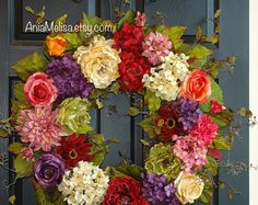 spring wreath summer wreath pink purple wreaths for by aniamelisa