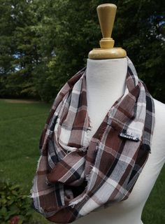 Black, White, & Brown Plaid, Hand Frayed, 100% Cotton Gauze, Infinity Scarf…