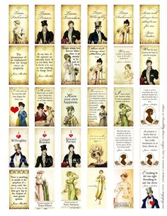 Jane Austen Sense and Sensibility cards. Wouldn't it be neat to make these into bookmarks? For our favorite Jane Austen books, of course. Domino Crafts, Domino Art, Jane Austen Movies, Jane Austen Quotes, Domino Jewelry, Selling Handmade Items, Artist Supplies, Pride And Prejudice, Colour Images