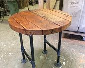Round Douglas-fir side table with pipe base