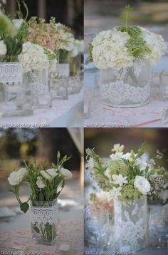 Lace on Vases romantic reception wedding flowers,  wedding decor, wedding flower centerpiece, wedding flower arrangement, add pic source on comment and we will update it. www.myfloweraffair.com can create this beautiful wedding flower look.  .