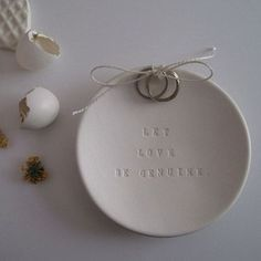 Paloma's Nest ring bearer plates. A great heirloom piece, I've always loved this idea. Beautiful Verses, Photo Ring, Ring Pillow Wedding, Bowl Designs, Shadow Box Frames, White Clay, Holiday Tree, Ring Bearer, Wedding Day